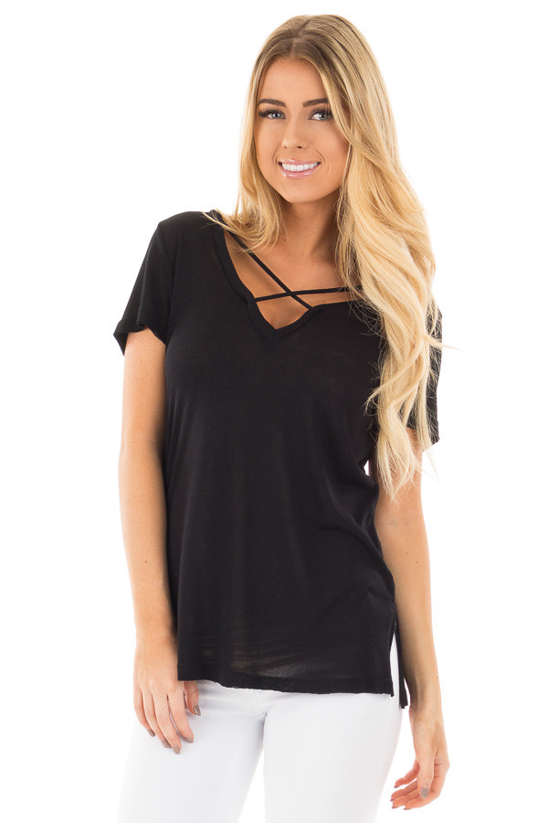 Black Short Sleeve Tee with Criss Cross Neckline front close up
