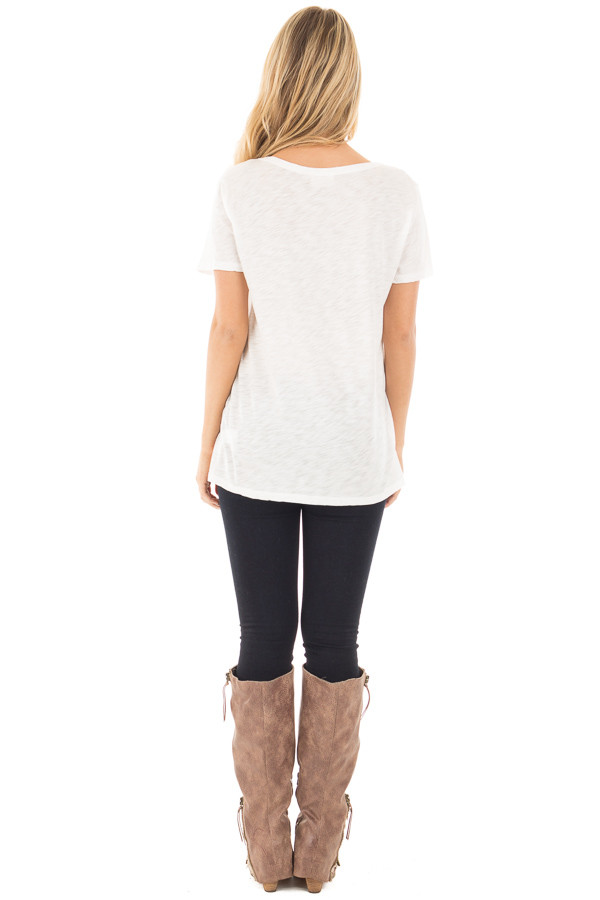 Ivory Short Sleeve Tee with Cut Out Lace Up V Neck back full body