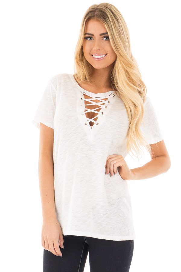 Ivory Short Sleeve Tee with Cut Out Lace Up V Neck front close up