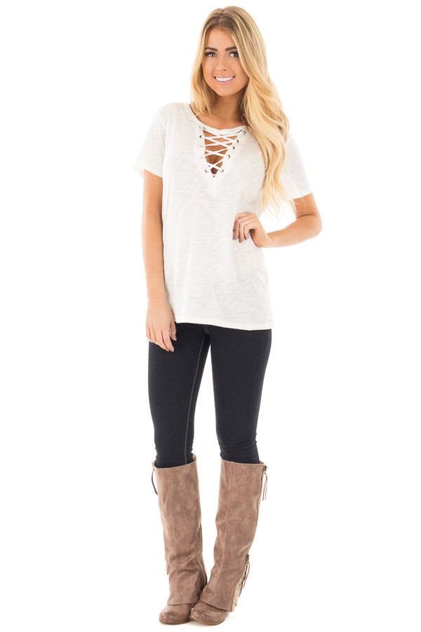Ivory Short Sleeve Tee with Cut Out Lace Up V Neck front full body