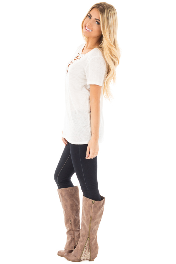Ivory Short Sleeve Tee with Cut Out Lace Up V Neck side full body
