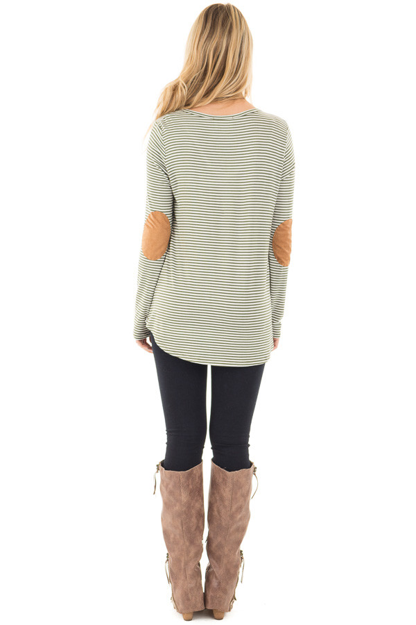 Olive Criss Cross Detail Front and Suede Elbow Patch Top back full body