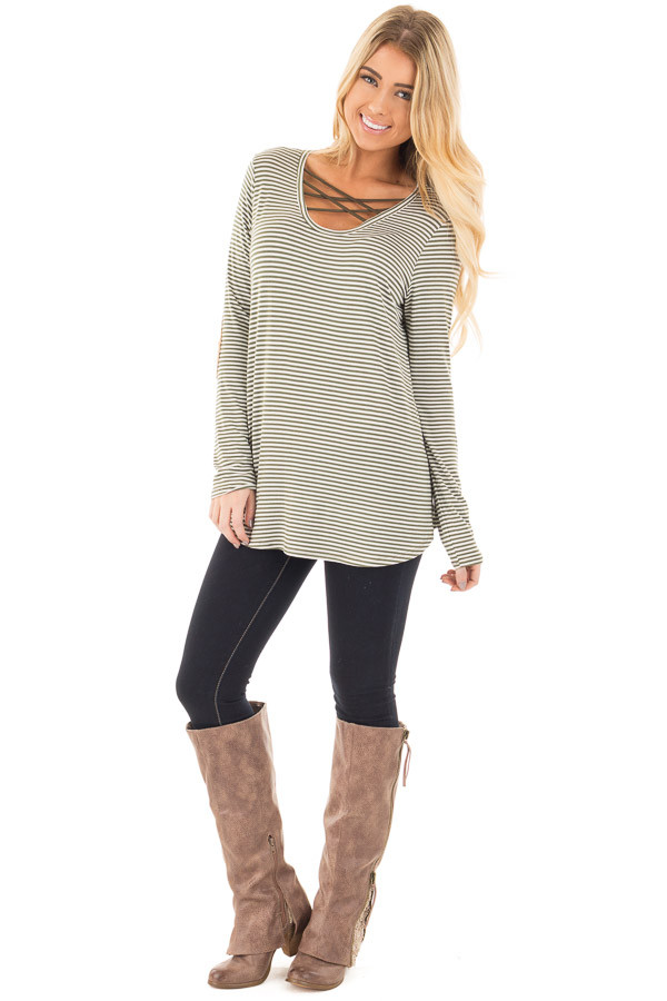 Olive Criss Cross Detail Front and Suede Elbow Patch Top front full body