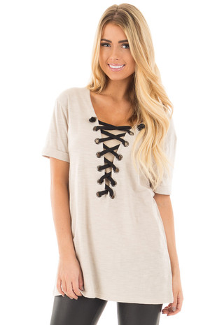 Taupe Short Sleeve Tee with Black Lace Up Neckline front close up