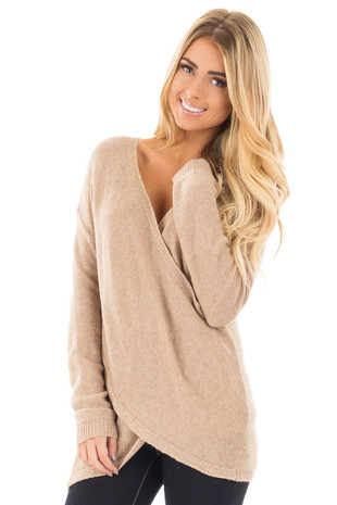 Oatmeal Wrap Style Knit Long Sleeve Sweater front close up