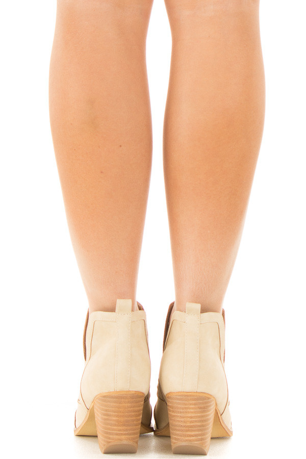 Beige Ankle Boots with Cut Out Details back view