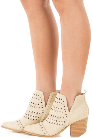 Beige Ankle Boots with Cut Out Details side view
