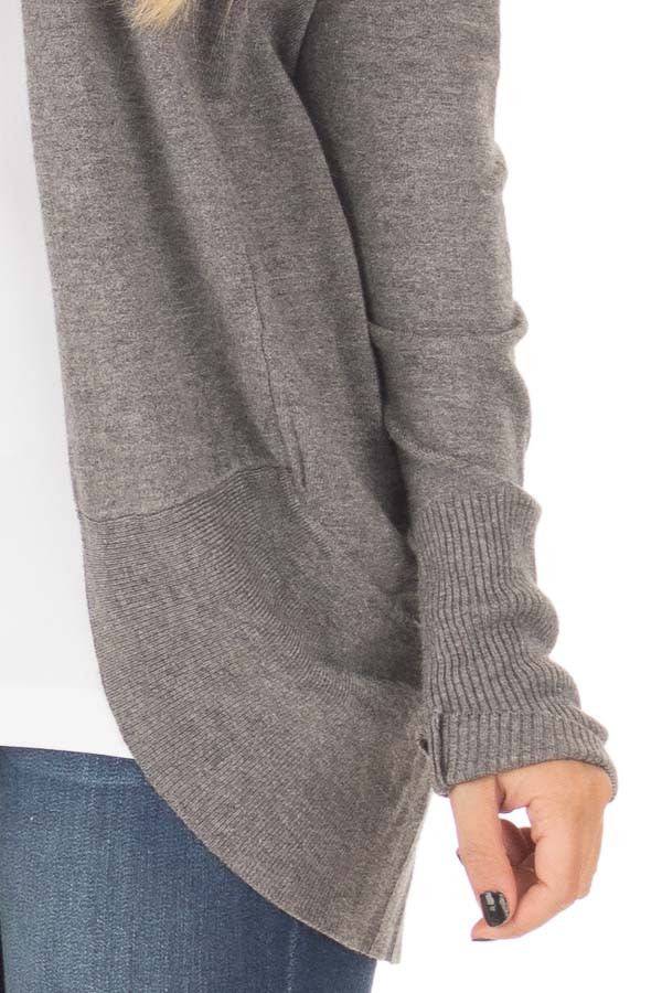 Charcoal Soft Long Sleeve Open Cardigan with Rounded Hem detail
