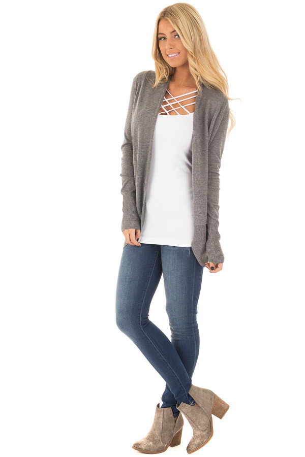 Charcoal Soft Long Sleeve Open Cardigan with Rounded Hem front full body