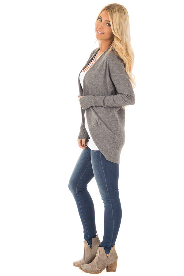 Charcoal Soft Long Sleeve Open Cardigan with Rounded Hem side full body