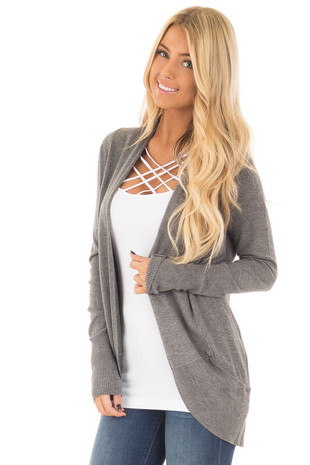 Charcoal Soft Long Sleeve Open Cardigan with Rounded Hem front close up
