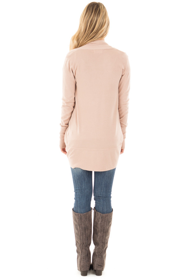 Dusty Pink Soft Long Sleeve Open Cardigan with Rounded Hem back full body