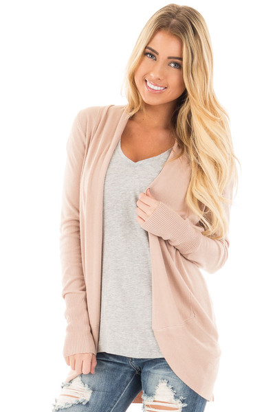 Dusty Pink Soft Long Sleeve Open Cardigan with Rounded Hem front close up