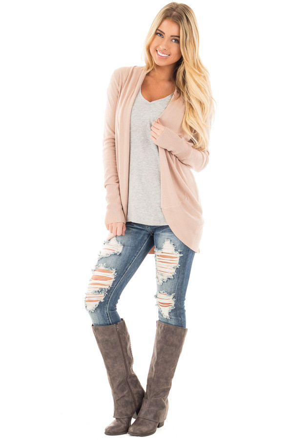 Dusty Pink Soft Long Sleeve Open Cardigan with Rounded Hem front full body