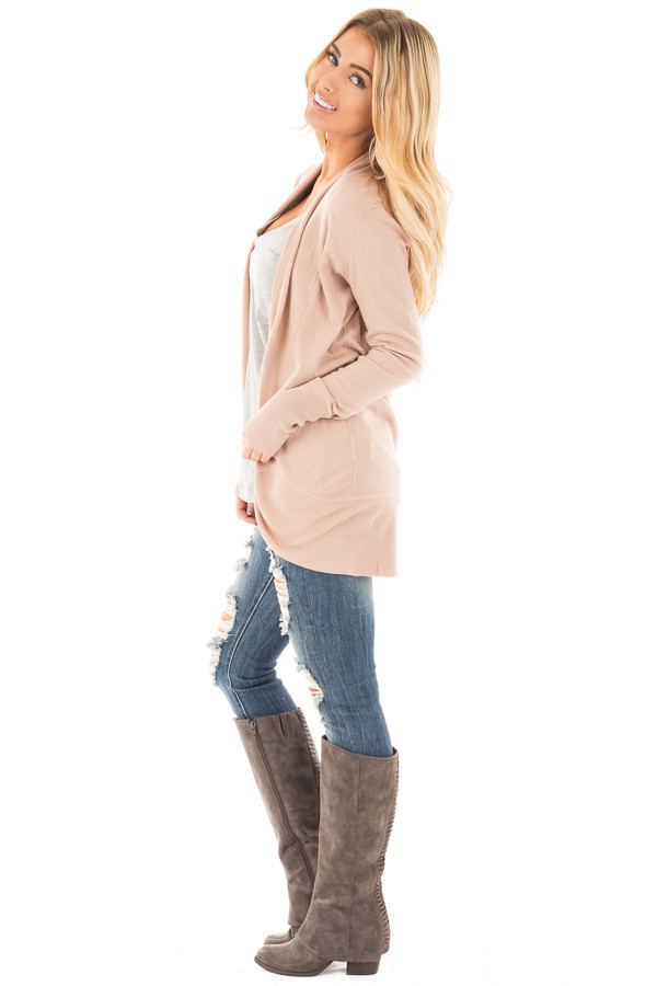 Dusty Pink Soft Long Sleeve Open Cardigan with Rounded Hem side full body