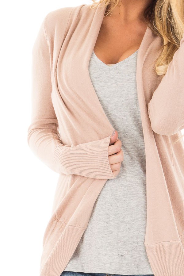 Dusty Pink Soft Long Sleeve Open Cardigan with Rounded Hem detail