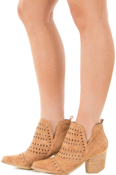 Brown Ankle Boots with Cut Out Details side view