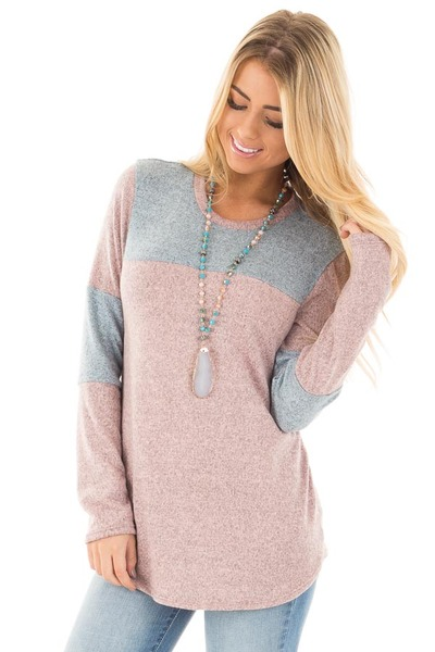 Mauve and Blue Two Toned Knit Top with Color Block Detail front close up
