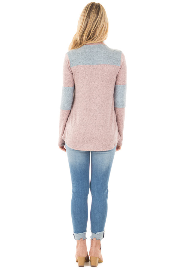 Mauve and Blue Two Toned Knit Top with Color Block Detail back full body