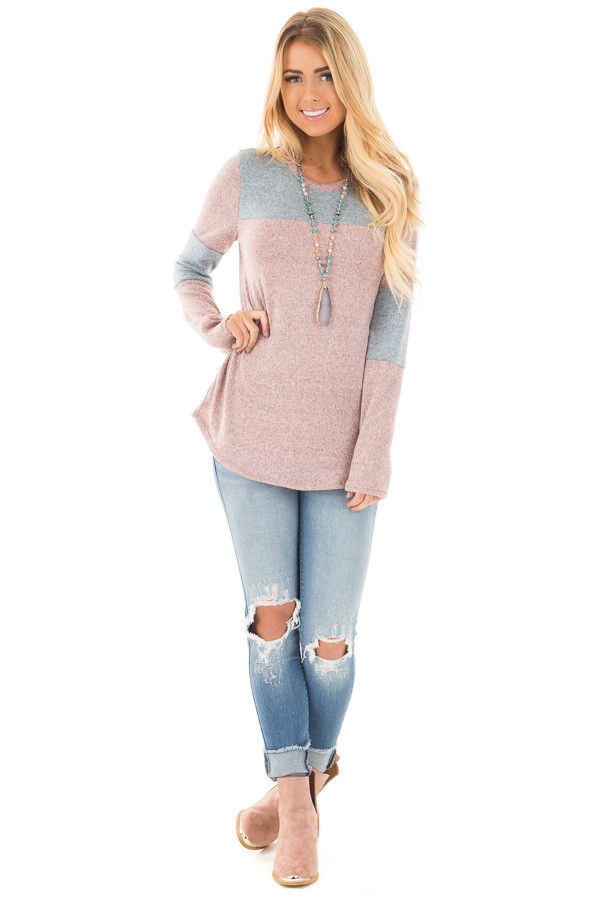 Mauve and Blue Two Toned Knit Top with Color Block Detail front full body