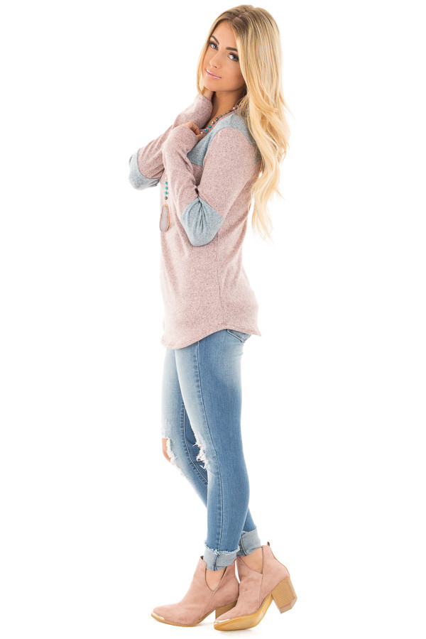 Mauve and Blue Two Toned Knit Top with Color Block Detail side full body