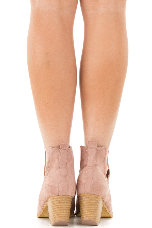 Dusty Rose Faux Suede Ankle Boots with Metallic Toe Detail back view