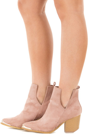 Dusty Rose Faux Suede Ankle Boots with Metallic Toe Detail side view