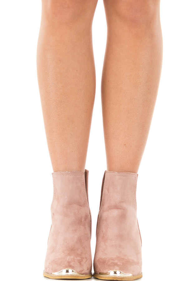 Dusty Rose Faux Suede Ankle Boots with Metallic Toe Detail front view