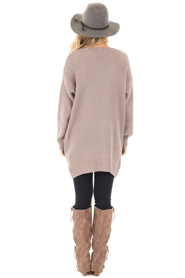 Light Mocha Wool Knit Cardigan with Front Pockets back full body