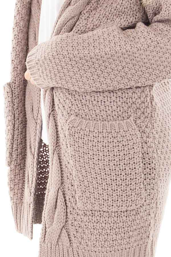 Light Mocha Wool Knit Cardigan with Front Pockets detail
