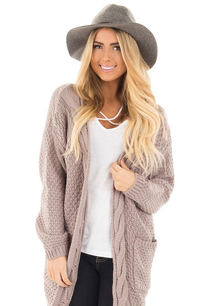Light Mocha Wool Knit Cardigan with Front Pockets front close up
