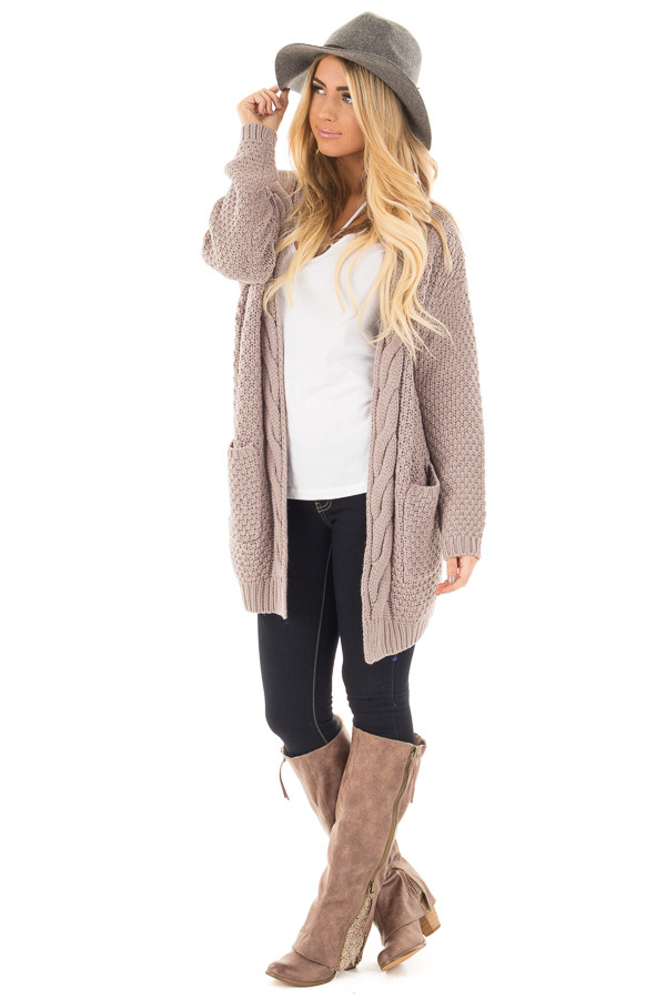 Light Mocha Wool Knit Cardigan with Front Pockets front full body