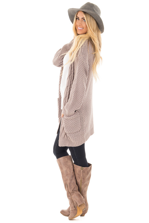 Light Mocha Wool Knit Cardigan with Front Pockets side full body
