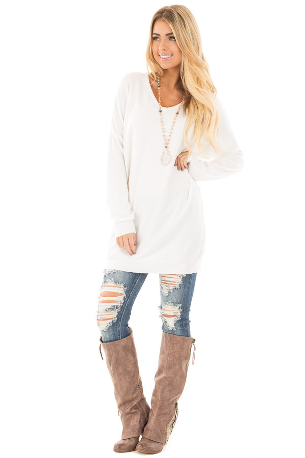 White Soft Knit Sweater with Criss Cross Band Back - Lime Lush ...