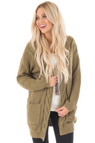 Olive Wool Knit Cardigan with Front Pockets front close up