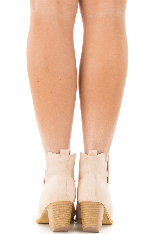 Light Nude Faux Suede Ankle Boots with Metallic Toe Detail back view