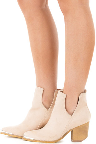 Light Nude Faux Suede Ankle Boots with Metallic Toe Detail side view