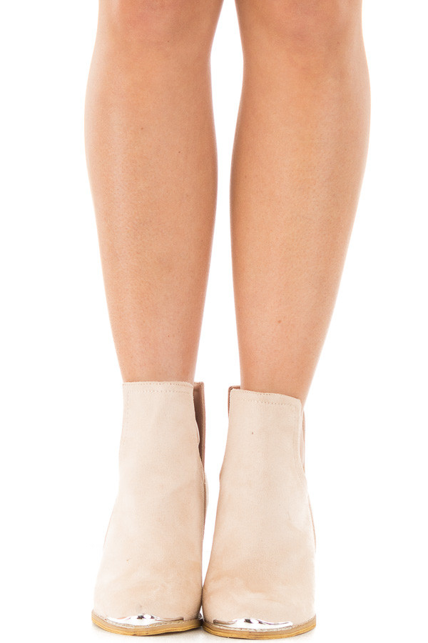 Light Nude Faux Suede Ankle Boots with Metallic Toe Detail front view