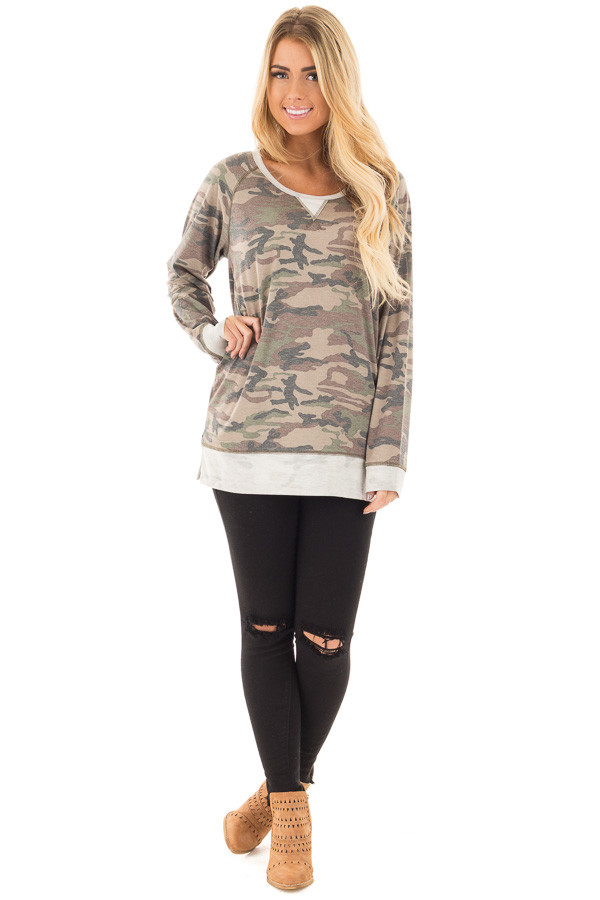 Camouflage Raglan Top with Beige Contrast and Side Slits front full body