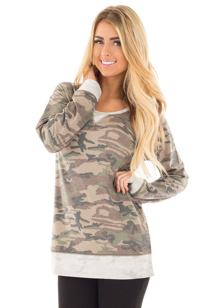 Camouflage Raglan Top with Beige Contrast and Side Slits front close up