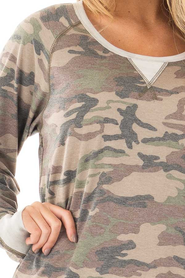 Camouflage Raglan Top with Beige Contrast and Side Slits detail