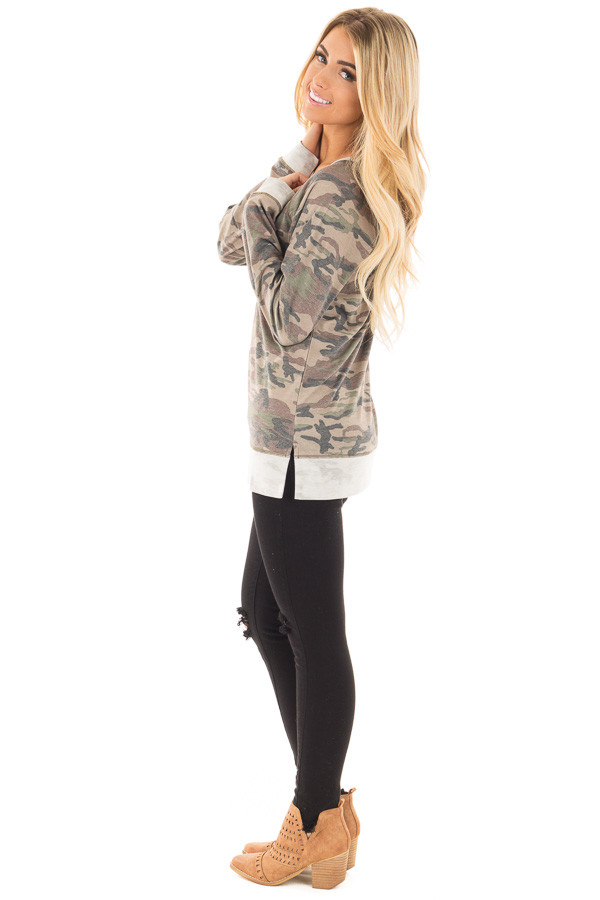 Camouflage Raglan Top with Beige Contrast and Side Slits side full body
