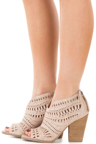 Taupe Open Toed Bootie with Cut Out Details side view
