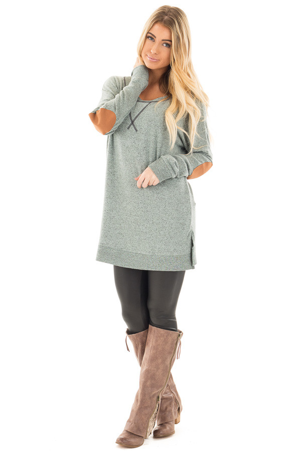 Deep Mint Two Tone Sweater with Faux Suede Elbow Patch front full body