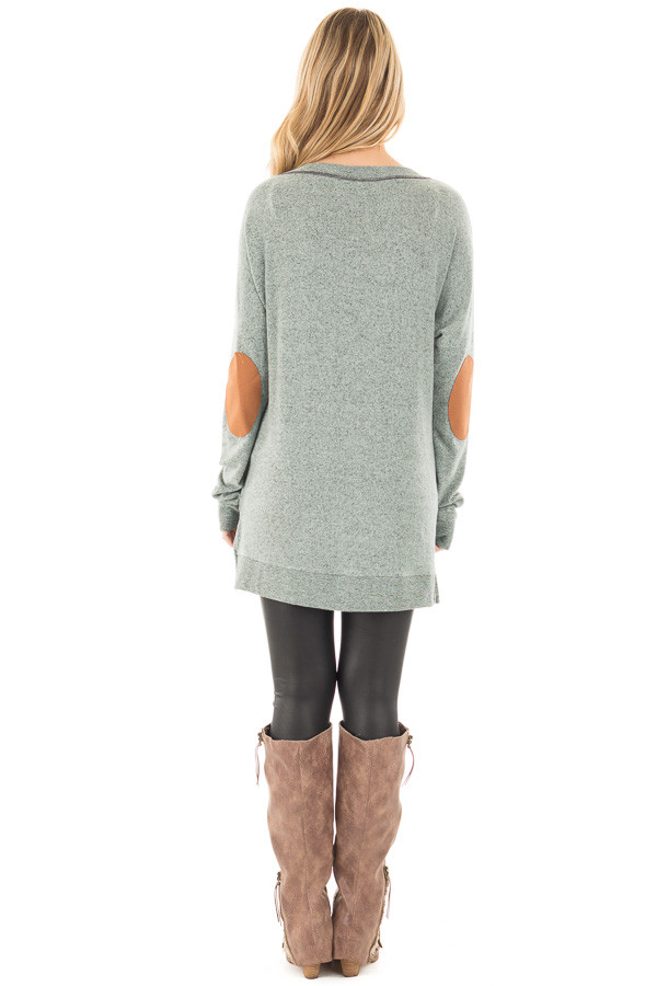 Deep Mint Two Tone Sweater with Faux Suede Elbow Patch back full body