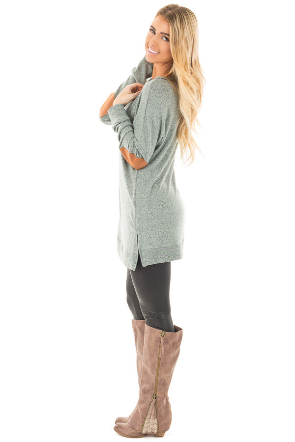 Deep Mint Two Tone Sweater with Faux Suede Elbow Patch side full body
