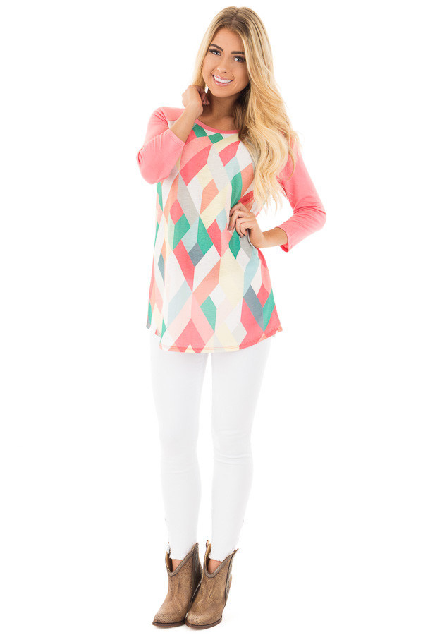 Coral Baseball Top with Multicolor Geometric Print front full body