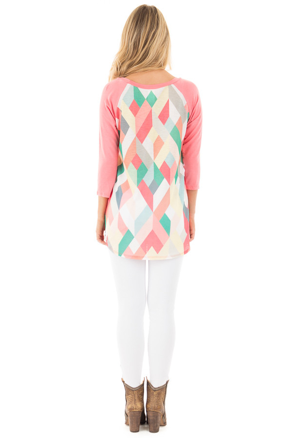 Coral Baseball Top with Multicolor Geometric Print back full body
