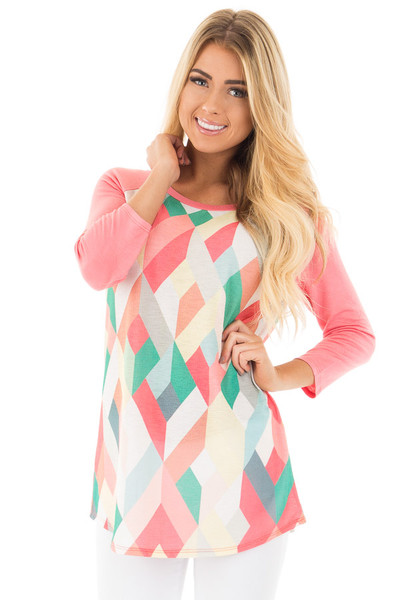 Coral Baseball Top with Multicolor Geometric Print front close up