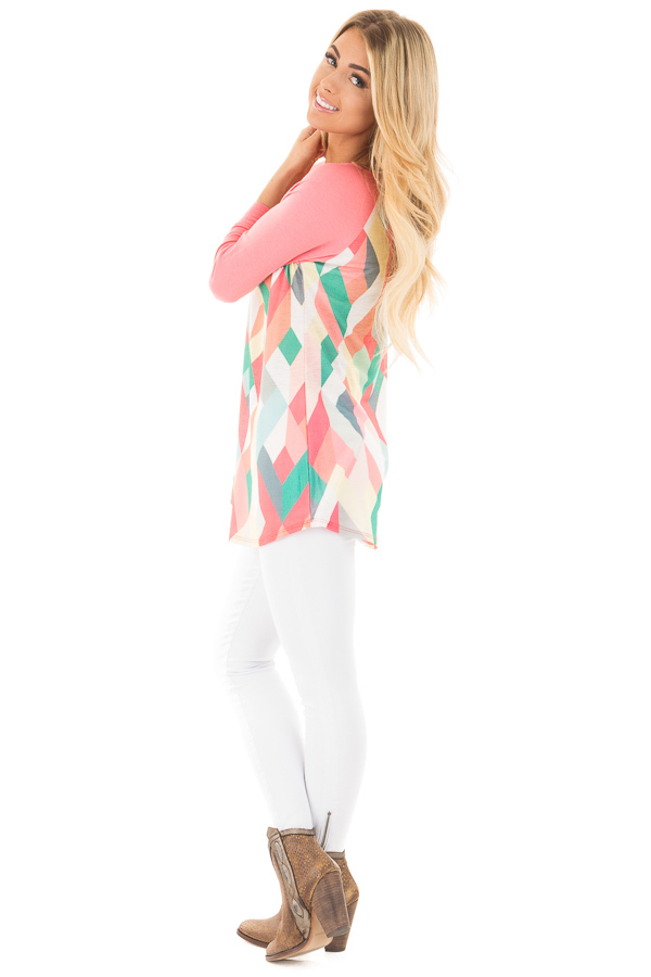 Coral Baseball Top with Multicolor Geometric Print side full body
